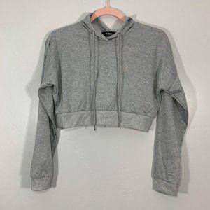 NEW CBR Gray Long Sleeve Pullover Hoodie Crop Top